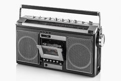 1980s Silver retro radio boom box on white background.  royalty free stock photo