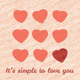 'It's simple to love you' Happy Valentine's Day Sweet Postcard. Love Card with hearts. Royalty Free Stock Photos