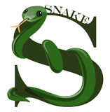 S (snake). An alphabet lettel S as a snake Alphabet series of animals stock illustration