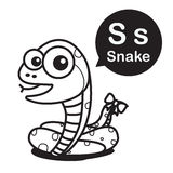 S Snake cartoon and alphabet for children to learning and colori Royalty Free Stock Image