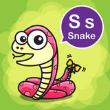 S Snake color cartoon and alphabet for children to learning vect Royalty Free Stock Photo