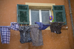 It's snowing on my laundry Stock Image