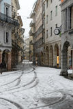 It's snowing on old part of Lugano on Switzerland. Royalty Free Stock Photography