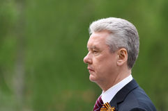 S.Sobyanin at ceremony of wreath laying Royalty Free Stock Images