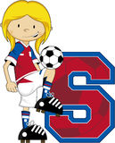 S is for Soccer - Soccer Girl Striker Royalty Free Stock Photos
