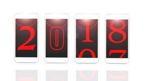 ` S 2018 som för lyckligt nytt år isoleras på vit bakgrund stock illustrationer