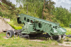 S-2 Sopka soviet coastal defense system. Old Launcher of S-2 Sopka soviet coastal defense system Stock Photo