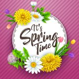It`s spring time banner with round frame and flowers on striped purple background. Illustration of It`s spring time banner with round frame and flowers on Royalty Free Stock Images