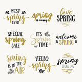 It`s spring time lettering greeting cards set. Vector Special spring sale typography poster in gold black and white colors. stock illustration