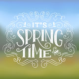 It's Spring Time typographic design. It's Spring Time. Hand-lettering typographic design on nature background Stock Photos