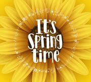 It`s spring time vector banner design with typography text and flower elements. In yellow sunflower background for spring season greetings. Vector illustration Stock Photo
