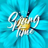 It`s spring time vector illustration with beautiful colorful flower on blue background. Floral design template with. Typography letter for greeting card or Stock Images