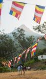 ` S Sri Lanka de Adam, o 15 de janeiro, a vista sobre o pico do ` s de Adam da montanha no por do sol Sri Lanka Imagens de Stock Royalty Free