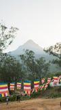 ` S Sri Lanka de Adam, o 15 de janeiro, a vista sobre o pico do ` s de Adam da montanha no por do sol Sri Lanka Imagem de Stock Royalty Free