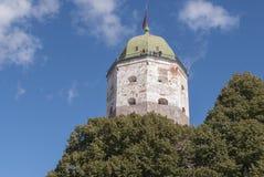 ` S St. Olaf Turm im alten schwedischen Schloss in Wyborg, Russland Stockfotos