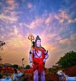 Indian hinduism god lord shiva. It is s statue of hinduism god lord shiva in bhavnagar india stock images