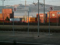 S.Stefano Magra, La Spezia, Italy 03/23/2013. Railway station and container depot royalty free stock image