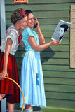 60s Story. SHERBROOKE CANADA AUGUST 29 2015: 60s Story of Sherbrooke Fresco Murals first of its kind in Canada is a unique attraction that transforms the Royalty Free Stock Photo