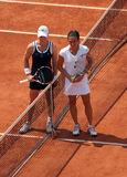 S.STOSUR and F.SCHIAVONE at Roland Garros 2010. PARIS - JUNE 05: Samantha STOSUR of Australia and Francesca SCHIAVONE of Italy pose before the women's singles Royalty Free Stock Image