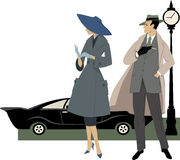 1950s street scene. Elegant couple dressed in 1950s fashion, a classic car and a clock behind them, vector illustration, no transparencies, ESP 8 stock illustration