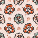 50s Style Blooming Daisies Vector Pattern Hand Drawn Seamless Vintage Flower Illustration. For Summer Fashion Print, Trendy Wallpaper, Floral Stationery, Cute stock illustration
