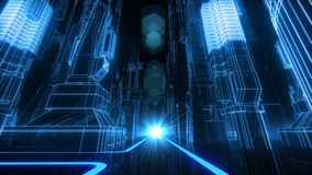 Retro-Futuristic City VJ Loop. 80s style cyber neon grid city 3D seamlessly looping animation vector illustration