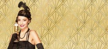 20s style festive  beauty. Royalty Free Stock Photo