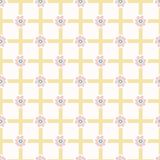 1950s Style Flower Daisy Gingham Seamless Vector Pattern. Hand Drawn Geometric. Floral Texture for Easter Textile Prints, Summer Decor, Pretty Backdrops vector illustration