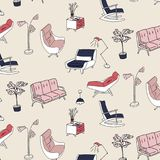 60s style furniture interior pattern. Cute pastel pink navy decoration. Retro sofa, armchair, nightstand and lam. P decoration. Stylish house furniture royalty free illustration