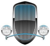 1930s Style Hot Rod Car Grill with Headlights and Chrome Trim Vector Illustration. Sharp looking vintage thirties style street rod front end grille with stock illustration