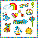 60's style Icons. Groovy colorful sixties style icons with peace and love signs. Eps10 Stock Photo