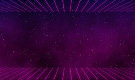 80s style illustration design background. 80s style galaxy with neon grids illustration design backgorund Stock Photos