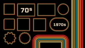 1970s Style Museum Picture Frames Vector Set. Trendy 1970s, Old Fashioned Artistic Decorative Borders. Retro Background With Multicolored Lines, Geometric stock illustration