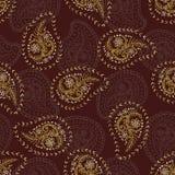 1950s Style Retro Daisy Paisley Seamless Vector Pattern. Folk Ethnic Flower Embroidery Motif stock illustration