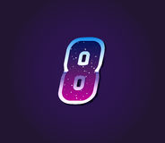 80s Style Retro Sci-Fi Font Digit or Number. Vector Stock Photography