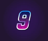 80s Style Retro Sci-Fi Font Digit or Number Vector. EPS 10 Stock Images