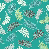 1950s Style Retro Tropical Leaves Seamless Vector Pattern. Jungle Foliage. Hand Drawn Summer Textile Print for Trendy Bohemian Fashion, Pretty Packaging stock illustration