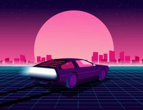 80s style sci-fi background with supercar. Retro future. 80s style sci-fi background with supercar. Futuristic retro car. Vector retro futuristic synth royalty free illustration