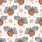 50s Style Strawberries Sketchy Vector Pattern, Hand Drawn Stylized Strawberry Food. Illustration,Trendy Kitchen Decor, Vintage Fashion Prints, Canning Labels stock illustration