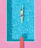 1980s style summer holiday poster with swimmer in swimming pool. Pink grunge worn tiles and water texture. Stock Image
