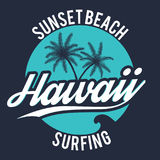 80s style surf sport typography. T shirt graphic. Hawaii tee graphic Royalty Free Stock Photo