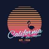 80s style vintage California typography. Retro t-shirt graphics with tropical paradise scene and flamingo silhouette Royalty Free Stock Photos