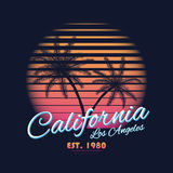 80s style vintage California typography. Retro t-shirt graphics with tropical paradise scene and tropic palms Stock Images