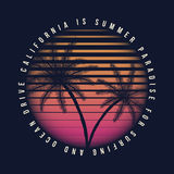 80s style vintage California typography. Retro t-shirt graphics with tropical paradise scene and tropic palms Royalty Free Stock Photo