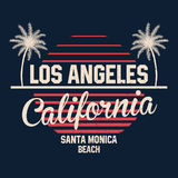 80s style vintage California typography. Retro t-shirt graphics with tropical paradise scene and tropic palms Stock Photo