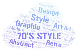 70's Style word cloud. Wordcloud made with text only vector illustration