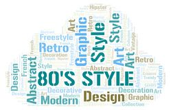 80's Style word cloud. Wordcloud made with text only stock illustration