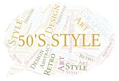 50's Style word cloud. Wordcloud made with text only royalty free illustration