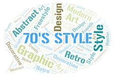 70's Style word cloud. Wordcloud made with text only stock illustration