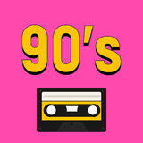 90`S style with yellow numbers and cassette tape. Recorder royalty free illustration
